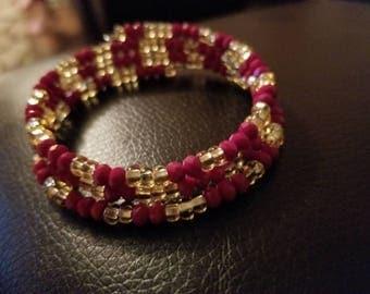 Crimson and gold beaded bracelet