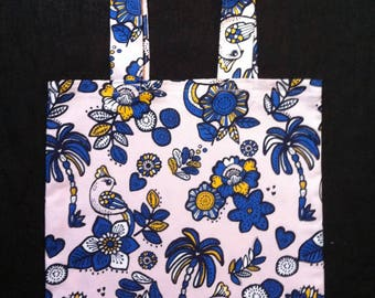 Tote bag blue birds fabric cotton double