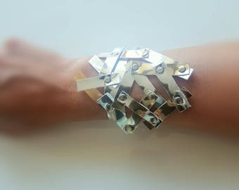 Faux Leather Industrial Bracelet