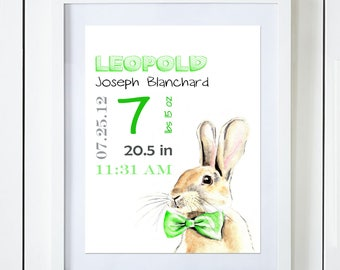 Green Bunny Birth Announcement Baby Stats Watercolor Art Print