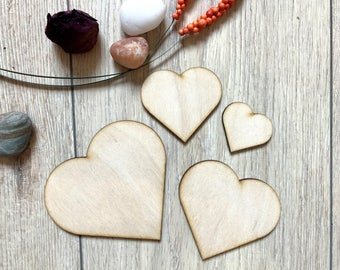 Blank Wooden Heart Plywood Scrapbooking Embellishment Wedding Decor Christmas