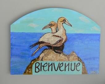 Wood with acrylic paint: sea birds