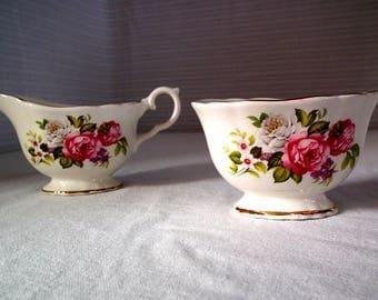 "Vintage Old Foley ""Harmony Rose"" Cream & Sugar set/ James Kent LTD / Made in England"