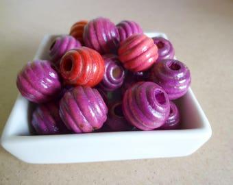 Textured round wood - purple shades (x 24)