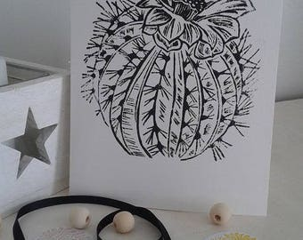 Shows Cactus linocut on white A5