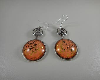Earrings dangle with 20mm handmade glass cabochon so unique