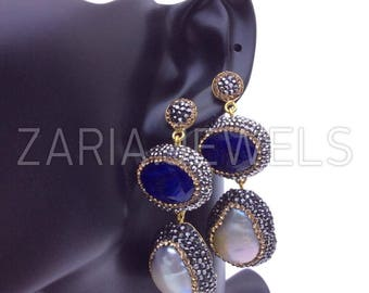 Double drop cultured pearl gem white blue and crystal earrings