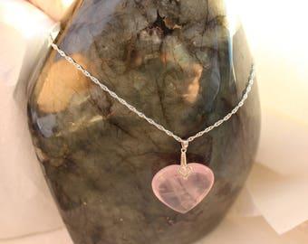 quartz necklace rose symbol of love stamped Silver 925
