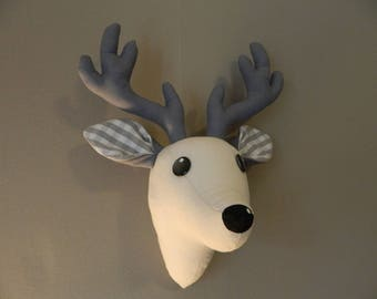 Deer head trophy, off-white and gray