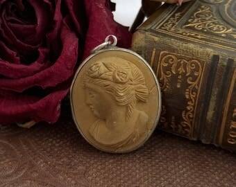 antique victorian carved lava cameo, pendant