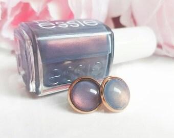 "Essie cabochon Earrings ""Blue-tiful Horizon"" 12 mm handmade-stud-earrings-Bridal Jewelry"