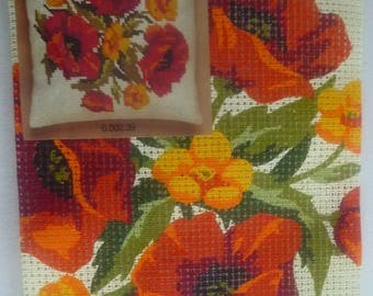 Kit canvas pattern Orange and yellow flowers with embroidery thread