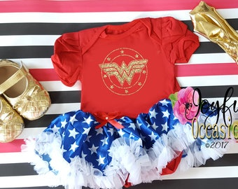 Baby Girl Wonder Woman Tutu Dress - Cute 2pc Superhero Halloween Tutu Costume Matching Headband - Coming Home Outfit - 1st Birthday Outfit