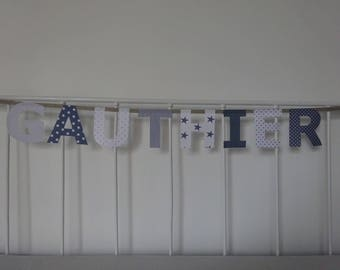 Garland name 8 letters fabric Gauthier