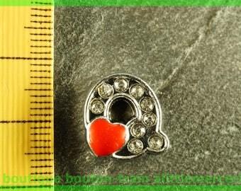 Pearl Heart N1 q bandwidth rhinestone alphabet for bracelet