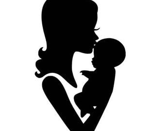 1 CUT OUT SILHOUETTE MOM AND BABY KISSES SCRAP PAPER