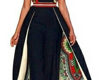Free Jumpsuit with african print cape
