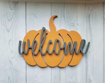 Fall Porch Sign, Fall Door Hanger, Pumpkin Door Hanger, Halloween Door Hangers, Porch Sign, Fall Door Decor, Wood Pumpkin, Door Hanging