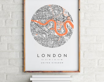London Map, London Map Print, London Print, Minimalist Map, Home Map, City Map Print, Modern Map, Modern Map Print, Minimalist City Map
