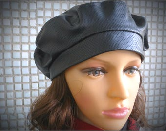 Eco leather beret Beret hat Black beret  Beret  Ladies hat Hat for women Hat Beret for women French beret Spring beret