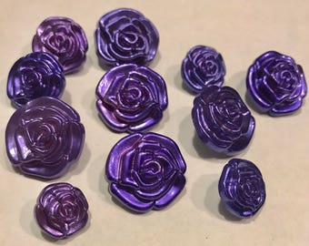 Acrylic Purple Rose Shank Button | Sewing | Valentines Day Crafts