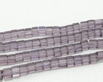 70 4 Transparent purple glass cube beads / 5mm