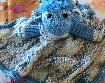Animal lovey/security blanket in blues
