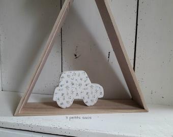 Paper mache figure. floral paper, linen