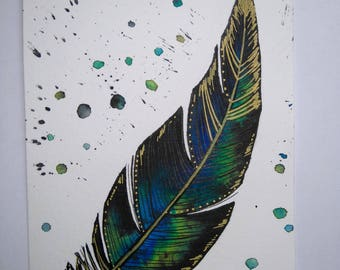 Watercolor: Mystic Golden Feather