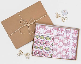 Crabs & Fish Stationary Gift Set