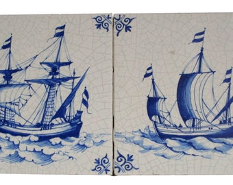 Antique Tiles/Dutch/West Raven/haindpainted with landscape and ship in blue White at the beginning of the 20th century (ca. 1920)