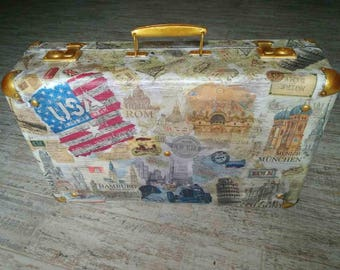 A decorated suitcase for fashionable and unique vintage decor