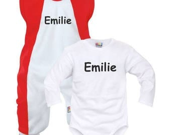 Set for baby boy and girl personalized name (Bodysuit + onesie)