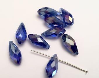 Crystal SWAROVSKI 17 mm x 8 mm Pearl drop PENDANT blue IRIDESCENT (H23)