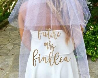 Bachelorette veil , Bridal shower veil , Custom Veil , Future Mrs Veil , Custom wedding veil , wedding veil , bach party veil