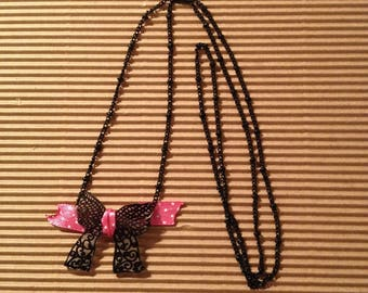 long necklace bow lace