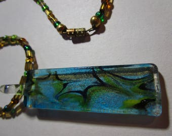 Glass beaded glass pendant nacklace
