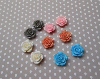 Set of 10 cabochons glue resin flower colors mixed 14 mm X 6 mm