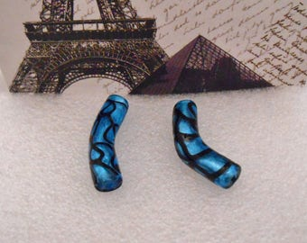 Set of 2 glass beads tube blue and Black 4 cm