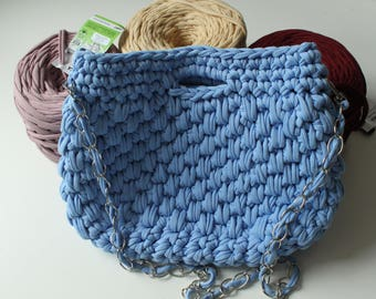 Knitted with double blue shoulder bag