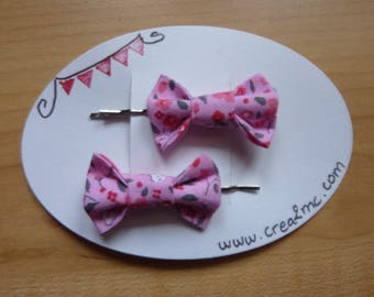 2 pins hair bow pink