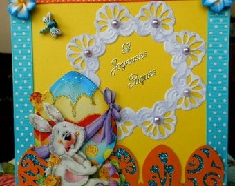 3D white cut amid Easter Bunny card