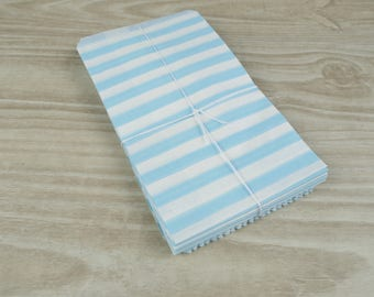 Clutch bags - Set of 10 - white patterned paper ciel9 blue horizontal stripes x 15 cm for gifts, jewelry, sweets