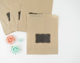 Gift (x 10) bags in black label printed kraft paper bags 12 x 14 cm for favors, christening, birthday, wedding