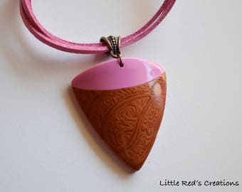 Copper and pink polymer clay pendant