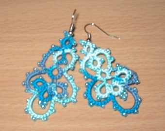 Tatting lace earrings / Earrings lace tatted