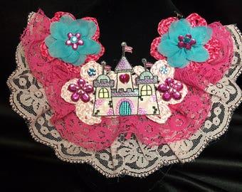 Crochet Princess Castle & Flower Necklace