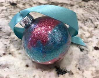 Blue & Pink Glitter Ornament