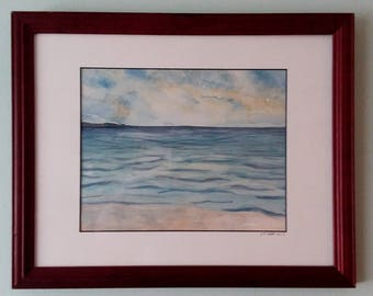 "Oceanside Landscape 11"" by 14"" Original Watercolor Painting"