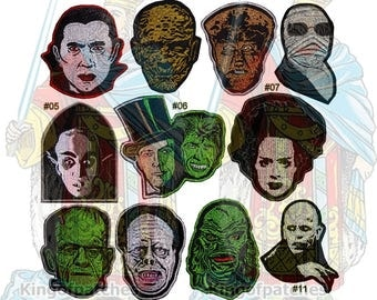 Universal Monsters Embroidered Patches Horror Movie Count Dracula The Mummy Wolfman Bride Frankenstein Orlok Nosferatu Dr Jekyll & Mr Hyde